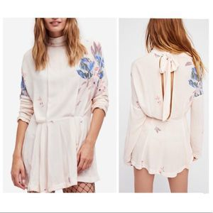 FREE PEOPLE ivory floral print mini pleated dress